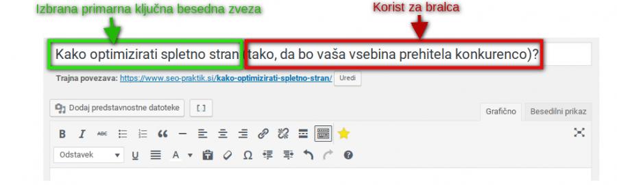 optimiziranje glavnega naslova