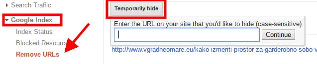 brisanje napak spletne strani