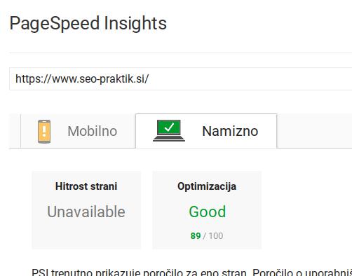 hitrost spletne strani pred optimizacijo