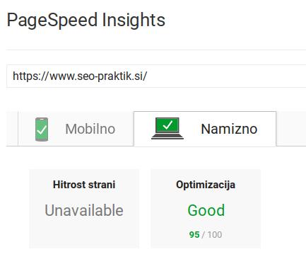 hitrost spletne strani desktop
