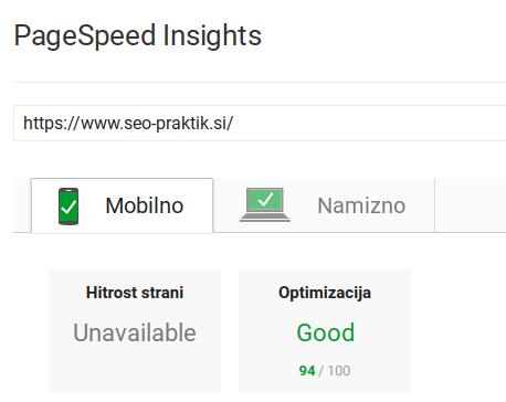 hitrost spletne strani mobilne naprave