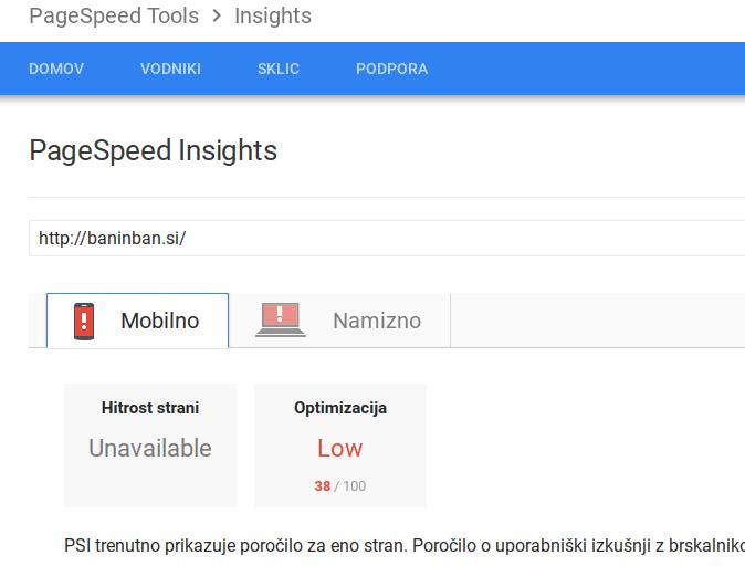 hitrost nalaganja spletne strani