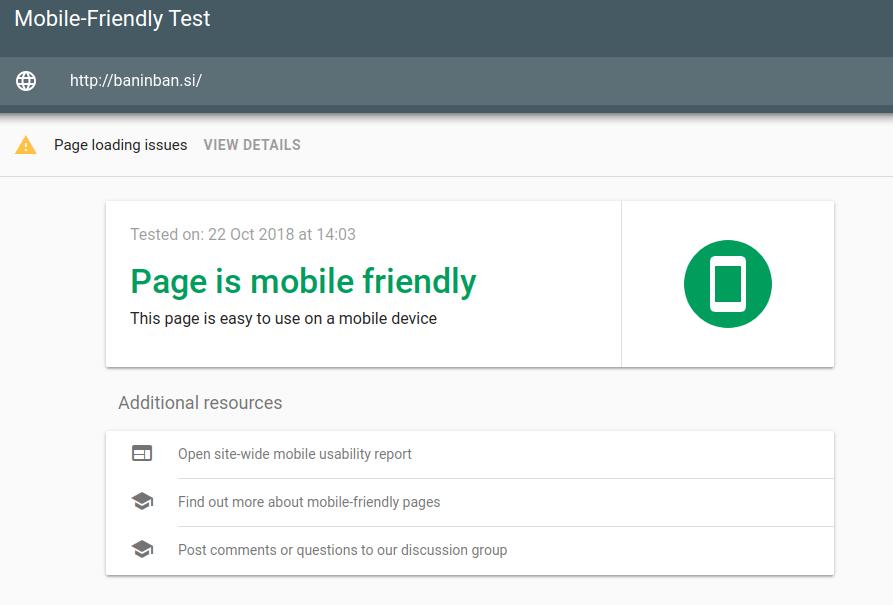preverjanje mobile ready spletne strani