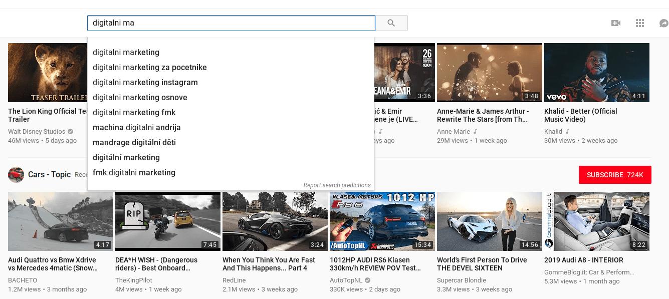ključne besede YouTube