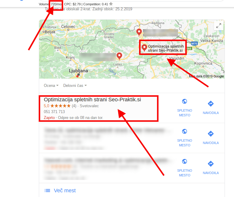 optimizacija spletnih strani zemljevid