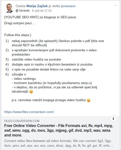 video povratne povezave koraki