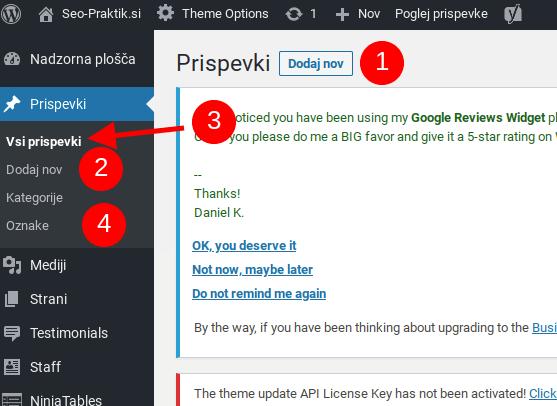 kako narediti wordpress prispevke