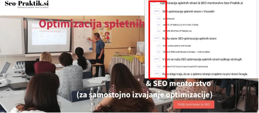 kako optimizirati poglavja spletne strani