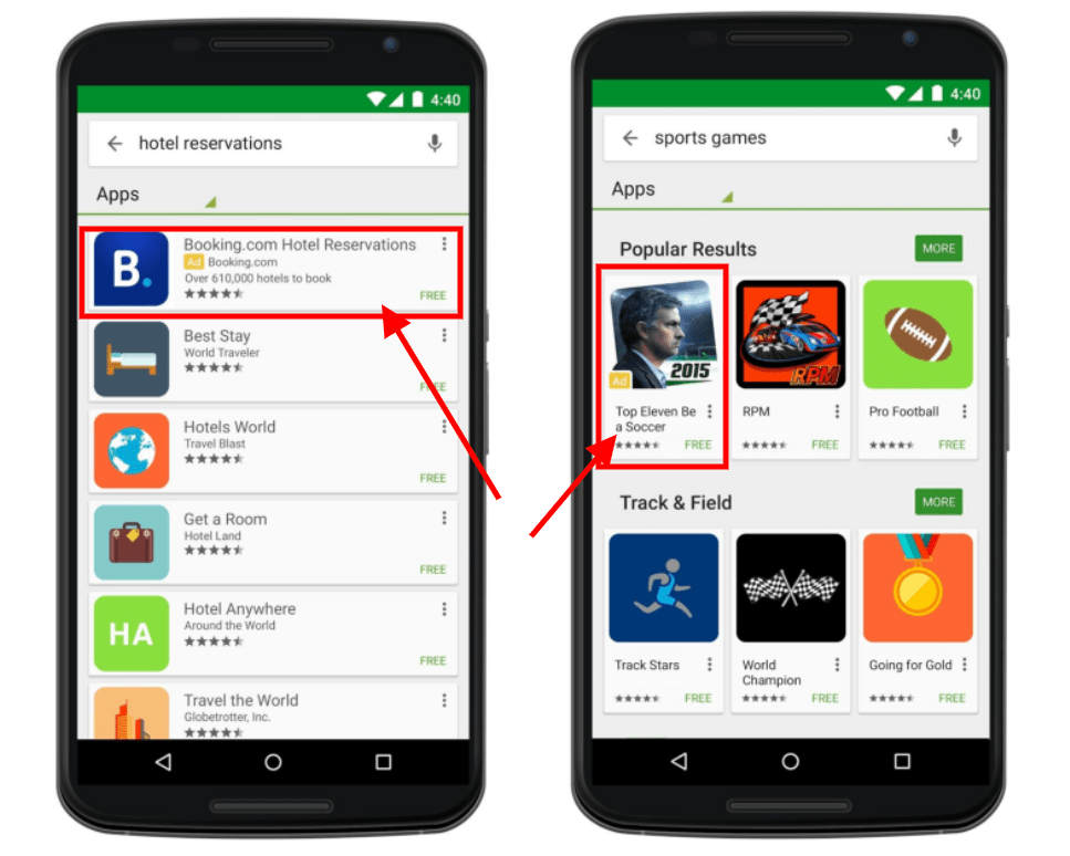 oglasevanje aplikacij