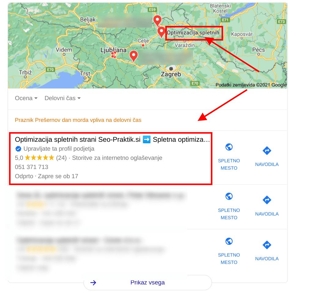 lokalno google oglaševanje