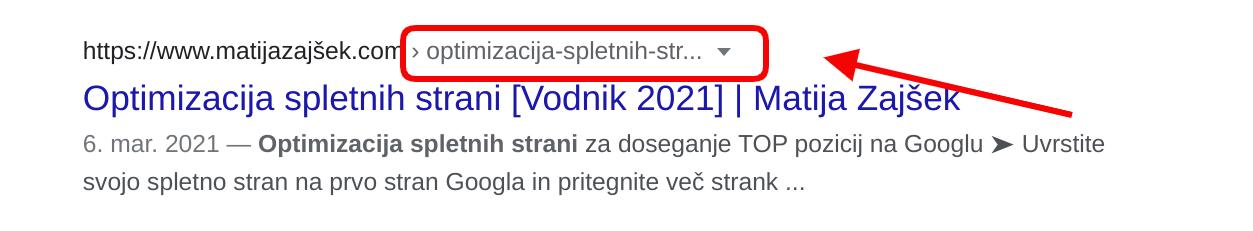 kateri url naslov na Googlu